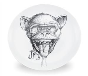 Prato Decorativo Grande Joks Macaco Preto
