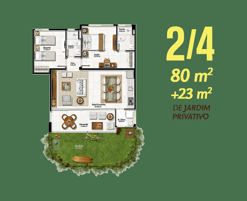 2/4 80m² + 23m² de Jardim Privativo