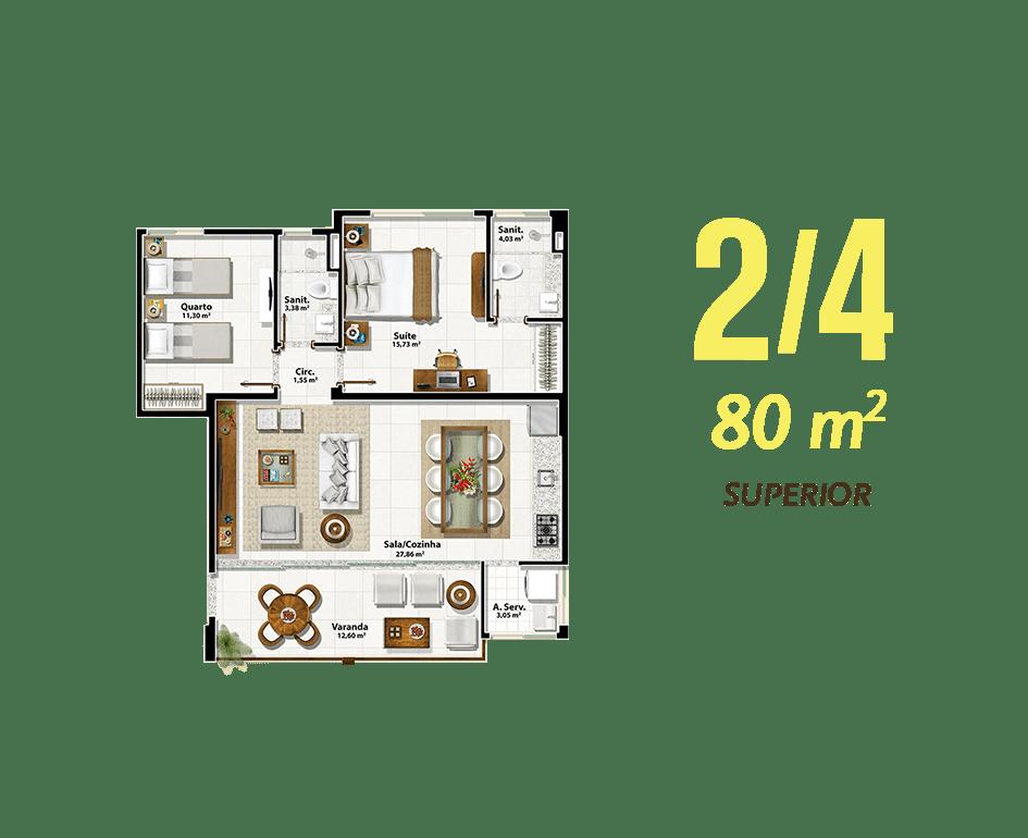 2/4 80m² Superior