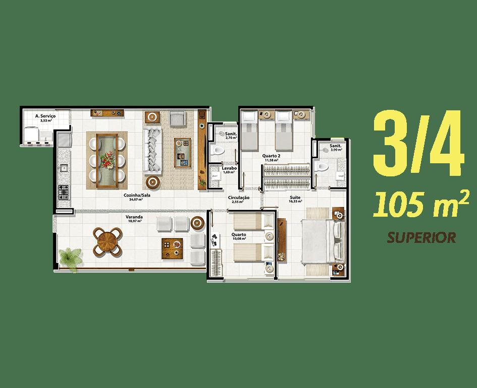 3/4 105m² Superior