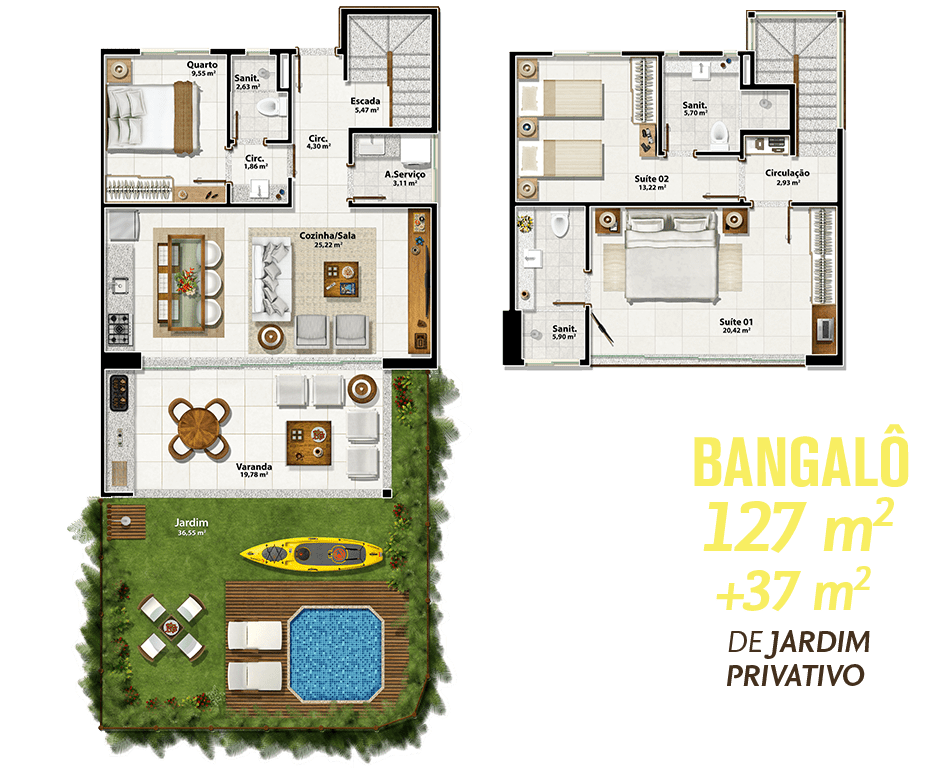 Bangalô 127m² + 37m² de Jardim Privativo